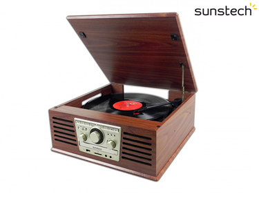 Gira-Discos com Leitor de CD + Rádio | 2 Velocidades