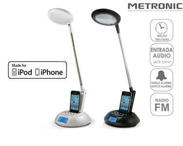 Candeeiro LED com Docking Station para iPhone & Ipod