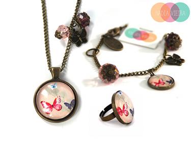 Jóias Nádia Vieira Vintage Butterflies   Colar, Pulseira ou Anel
