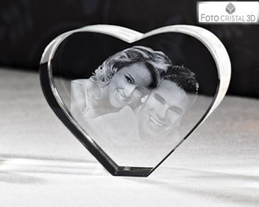 Coração de Cristal com Foto 2D   1 ou 2 Pessoas