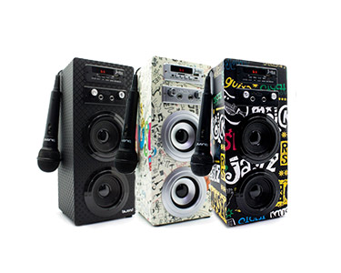Coluna Bluetooth JoyBox Karaoke   USB + Leitor Cartão SD + Mini Jack + Rádio & Microfone