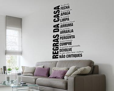 Vinil Decorativo Regras da Casa | Medidas 100 x 58 cm