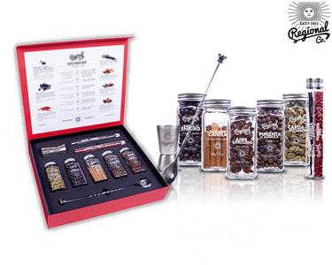Gin & Tonic Box Premium | Colher + Copo Doseador + 7 Botânicos