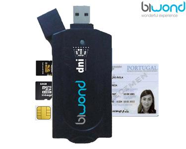 Leitor de Cartões USB 8 em 1 | Cartão do Cidadão, SIM & SD