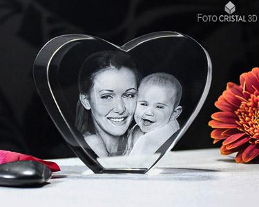 Coração de Cristal com Foto 3D | 1 ou 2 Pessoas