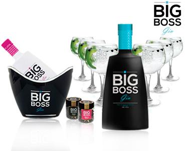 2 Garrafas Gin Big Boss® + 6 Copos + 2 Especiarias & Champanheira
