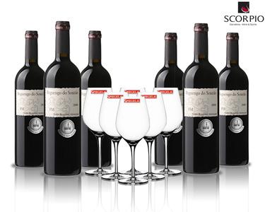 6 Garrafas de Vinho Reguengo do Souzão + 6 Copos