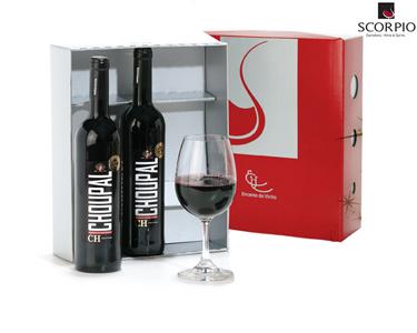Pack 2 Garrafas de Vinho Tinto Choupal + 1 Copo
