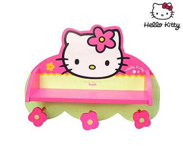 Hello Kitty | 2 em 1 Cabide+Prateleira Madeira