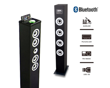 Torre de Som Bluetooth, USB, SD Radio FM & Amplificador