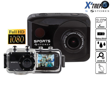 Câmara Desportiva Full HD c/ Ecrã Táctil + 4 Acessórios