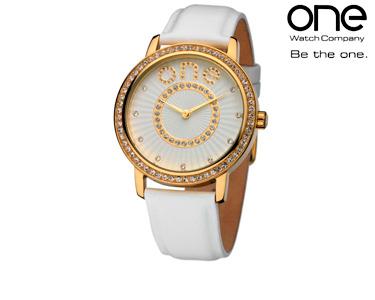 Relógios One® | Senhora Halo Branco&Dourado