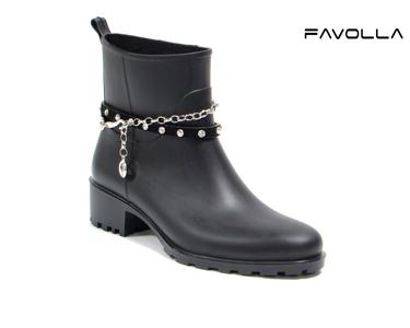 Botins Favolla® Nevada c/ Fivela e Corrente | Preto