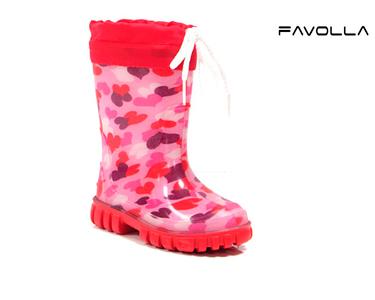 Botas Favolla® Criança Corações 620 | Rosa e Vermelho