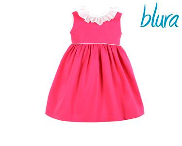 Vestido Blura® Rosa c/ Gola Branca | 1 Ano