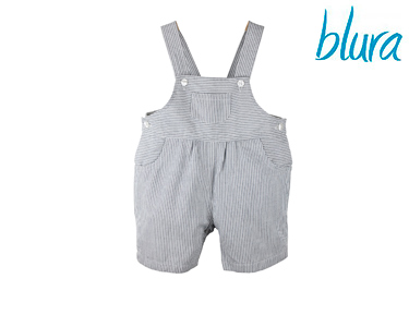 Macacão Calção Blura® c/ Riscas Azuis Marinho | 1 Ano