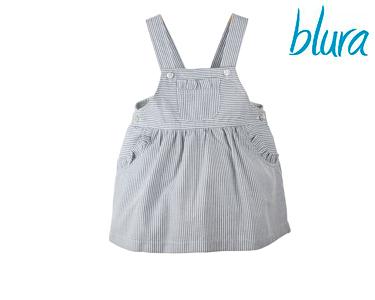 Macacão Saia Blura® c/ Riscas Azuis Marinho | 1 Ano