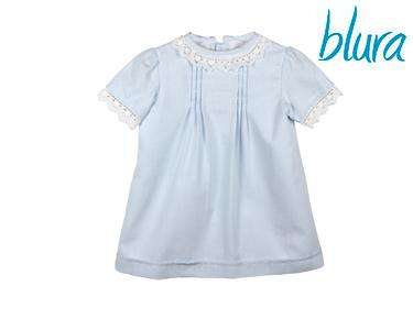 Vestido Azul Blura® c/ Bordado Branco | 10 Anos
