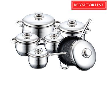 Trem de 12 Peças de Cozinha Royalty Line® Inox | Revestimento em Mármore