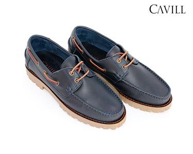 Sapatos de Vela Cavill® em Pele | Azul Escuro
