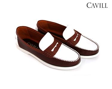 Sapatos de Vela Cavill® em Pele | Castanho e Branco