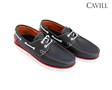 Sapatos de Vela Cavill® em Pele | Azul Marinho