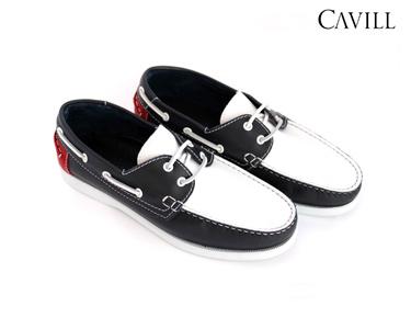 Sapatos de Vela Cavill® em Pele | Azul Marinho e Branco