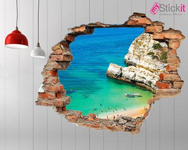Vinil Design 3D | Praia Algarve com Barcos