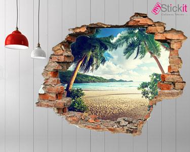 Vinil Design 3D | Praia com Palmeiras