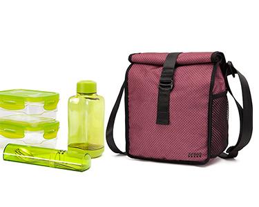 Lancheira & 4 Recipientes - Bag&Go Lifestyle! | Vermelho