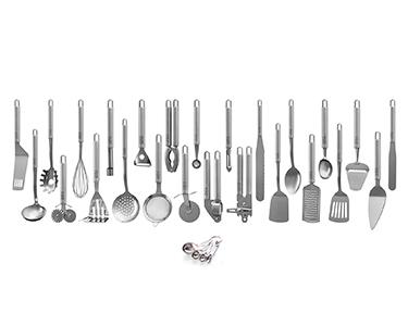 Kit de Utensílios de Cozinha Aço Inoxidável 26 Peças