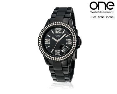 Relógio One® Senhora | Preto e Brilhantes