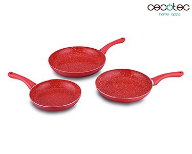 Conjunto de Frigideiras Vermelhas em Granito | Cecotec®