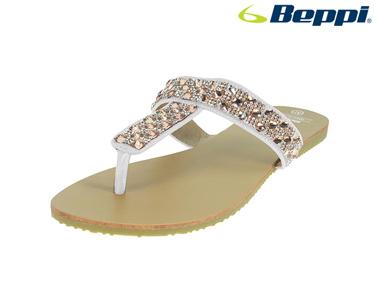 Chinelos Casuais Beppi®   Branco com Brilhantes