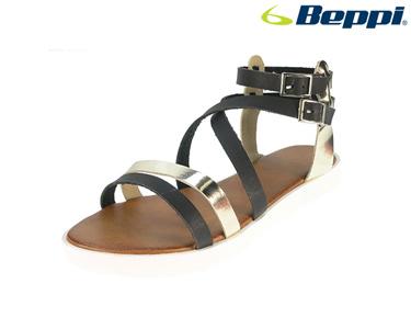 Sandálias Casuais Beppi®   Preto e Prateado