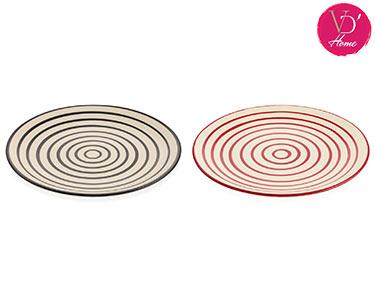 2 Pratos em Cerâmica Vermelho e Preto | Hypnos