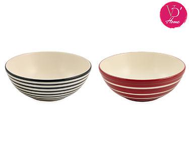 2 Saladeiras em Cerâmica Vermelho e Preto   Hypnos