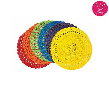 Conjunto de 6 Individuais em Crochet   Uncinetto
