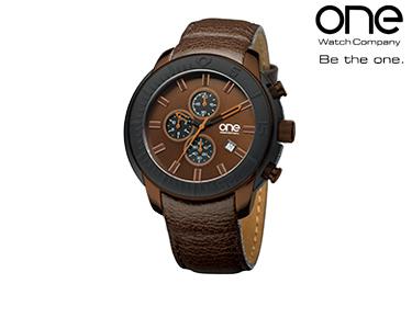 Relógio One® Round Trip Castanho | Homem