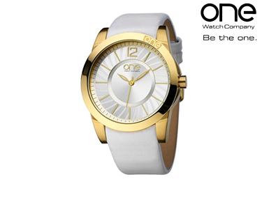 Relógio One® Spiral Branca e Dourado | Senhora