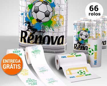 Renova® Design Futebol | 54 Rolos Papel Higiénico+ 12 Rolos de Cozinha