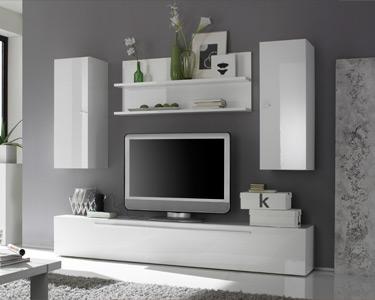 Sala Living Basic | Móvel TV, Colunas e Prateleiras Suspensos