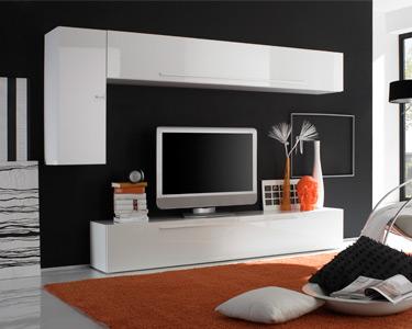 Sala Living Basic c/ Mostruário Suspenso| Branco Brilhante