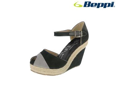 Sandálias Casuais com Cunha Beppi® | Preto e Cinza