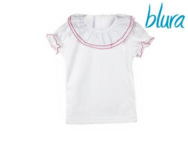 T-shirt Branca Blura® c/ Gola Bordada Rosa | Escolha o Tamanho