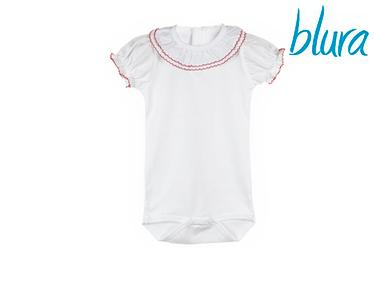 Body Branco Blura® c/ Gola Rosa   Escolha o Tamanho