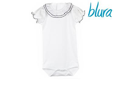 Body Branco Blura® c/ Gola Azul | Escolha o Tamanho