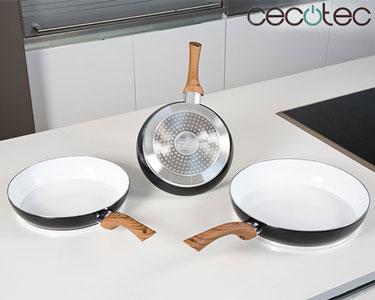 3 Frigideiras Cerâmicas Cecotec® | Diferentes tamanhos