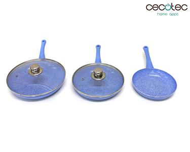 Conjunto de Frigideiras Azuis em Granito + Tampas | Cecotec®