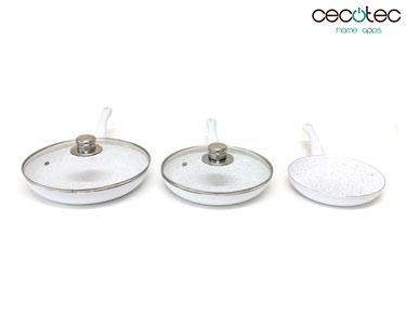 Conjunto de Frigideiras Brancas em Granito + Tampas | Cecotec®